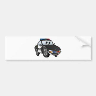 Police Car Cartoon 2 BWB Bumper Sticker