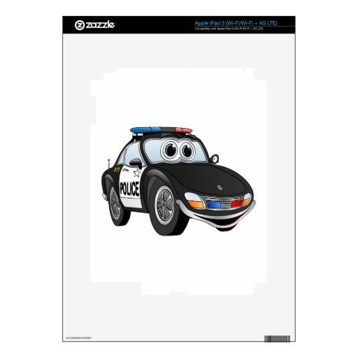 Police Car Cartoon 2 BWB iPad 3 Decal