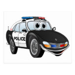 Police Car Cartoon 4 BW Post Cards