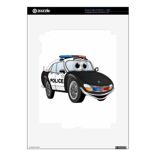 Police Car Cartoon 4 BW Skins For iPad 2