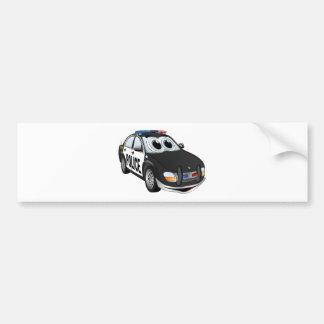 Police Car Cartoon BWB Bumper Sticker