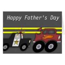 Police Car Chasing Big Truck Father's Day Card