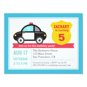 Police Car Kids Birthday Party Invitation 4.25