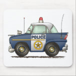 """Police Car Law Enforcement Mouse Pad<br><div class=""""desc"""">Little matches the excitement surrounding emergency vehicles! Zazzle is proud to offer this large selection of customizable items with this emergency police car image by artist Richard Neuman. His uniquely styled images which combines detail with a touch of whimsy is collected worldwide.</div>"""