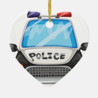 Police car ceramic heart ornament