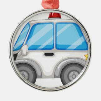 Police car Silver-Colored round ornament