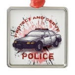 Police Car Premium Square Ornament