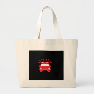 police car red on black tote bags