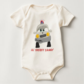 Police Car with Custom Sheriff Name Baby Bodysuit