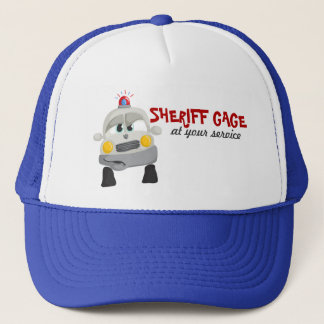 Police Car with Custom Sheriff Name Trucker Hat