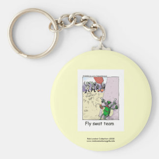 Police Cartoon Fly Swat Team On A Funny Key Chain Keychains
