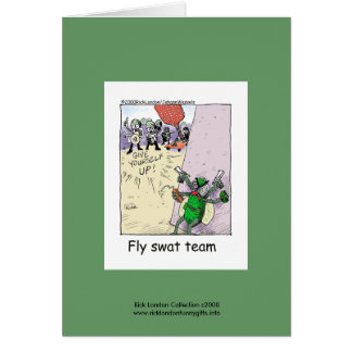 Police Cartoon Fly Swat Team On A Note Card