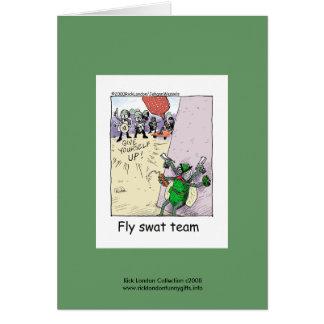 Police Cartoon Fly Swat Team On A Note Card