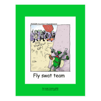 Police Cartoon Fly Swat Team On A Note Card Post Cards