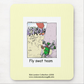 Police Cartoon Fly Swat Team On Quality Mouse Pad