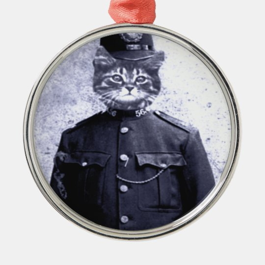 Police Cat Metal Ornament