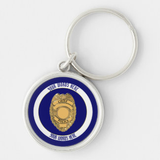 Police Chief Badge Shield Custom Silver-Colored Round Keychain
