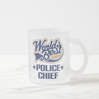 Police Chief Gift Frosted Glass Coffee Mug