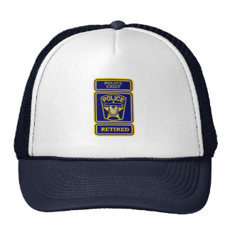 Police Chief Retired Badge Trucker Hat
