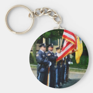 Police Color Guard Basic Round Button Keychain