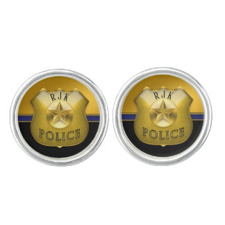 Police Cop Badge | Blue Stripe Monogram Cufflinks