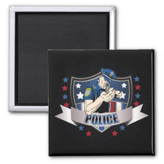 Police Crest 2 Inch Square Magnet