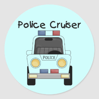 Police Cruiser Tshirts and Gifts Round Sticker