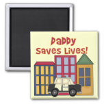 Police Daddy Saves Lives T-shirts and Gifts Fridge Magnet