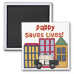 Police Daddy Saves Lives T-shirts and Gifts Magnet