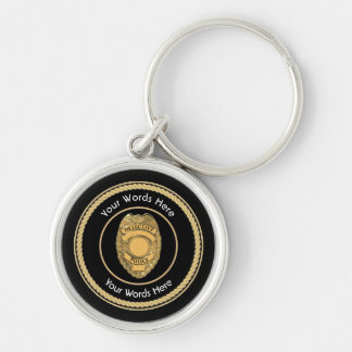 Police Detective Badge Universal Silver-Colored Round Keychain