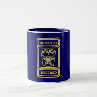 Police Detective Retired Badge Two-Tone Coffee Mug
