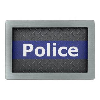 Police Diamond Plate Thin Blue Line Belt Buckle