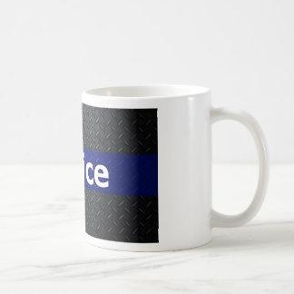 Police Diamond Plate Thin Blue Line Coffee Mug