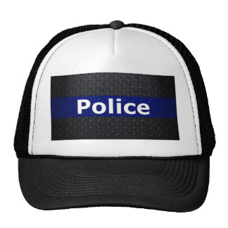 Police Diamond Plate Thin Blue Line Mesh Hat