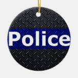 Police Diamond Plate Thin Blue Line Double-Sided Ceramic Round Christmas Ornament