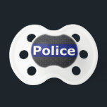 "Police Diamond Plate Thin Blue Line Pacifier<br><div class=""desc"">modern style Police diamond plate made of steel thin blue line design</div>"