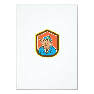 Police Dog Canine Shield Cartoon 11 Cm X 16 Cm Invitation Card