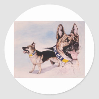 Police Dogs for Kids help phone Classic Round Sticker