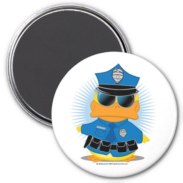 Police Duck 3 Inch Round Magnet