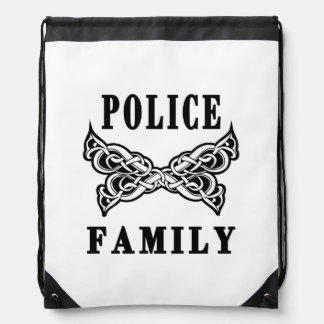 Police Family Tattoo Drawstring Backpack