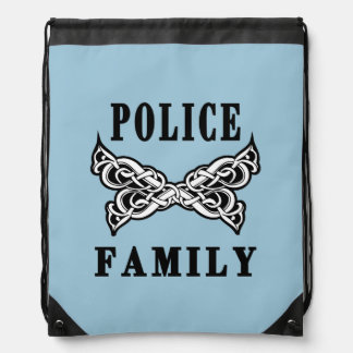 Police Family Tattoo Drawstring Bag