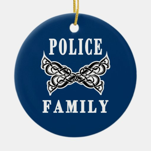 Police Family Tattoos Double-Sided Ceramic Round Christmas Ornament