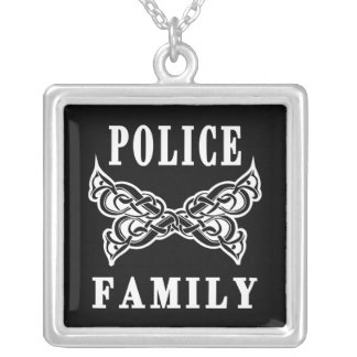 Police Family Tattoos Silver Plated Necklace