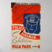 Police, Firemen Exhibition Vintage WPA Poster