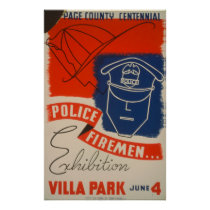 Police, Firemen Exhibition Vintage WPA Poster