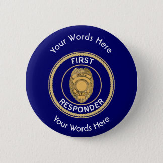 Police First Responder Pinback Button