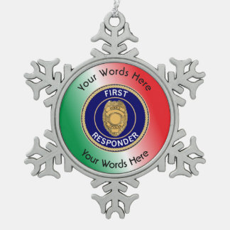Police First Responder Snowflake Pewter Christmas Ornament