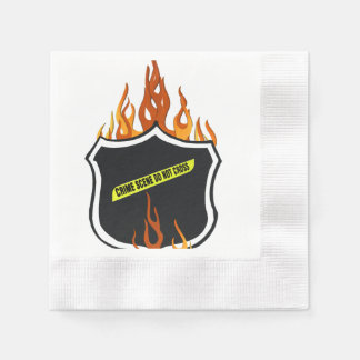 Police Flaming Badge Napkin