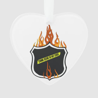 Police Flaming Badge Ornament