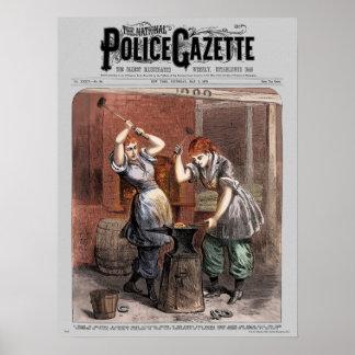 Police Gazette poster Blacksmiths (color)